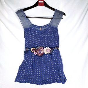 Free People Embellished Floral Tank Top Large